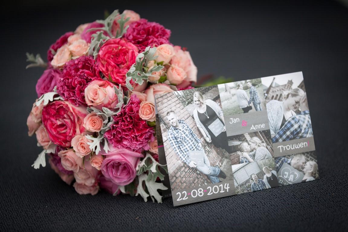 Bruidsboeket biedermeier rozen roze anjer