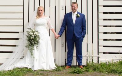 bruidsboeket asparagus rozen